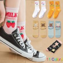 Милые носки в полоску с котом, женские носки с забавными фруктами, бананами, носки с изображением клубники, еды, пончики, носки для Sushi, женски...