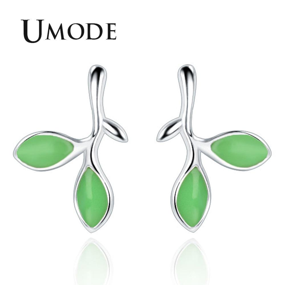 UMODE bonitos pendientes de tuerca en forma de Burgeon para mujer nuevos pendientes a la moda joyas con piedra verde hojas pequeñas regalo de moda AUE0422