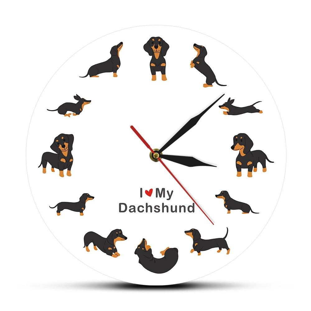 Lindo perro de estilo de dibujos animados perro Reloj de pared de perro, perro raza reloj perro salchicha de pared moderno reloj diciendo que amo perro