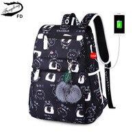 Женский модный школьный рюкзак Fengdong, черный школьный рюкзак с usb-разъемом для девочек, школьный рюкзак с украшением в виде бабочки для девоч...
