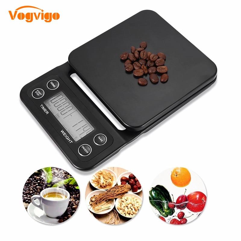Vogvigo nova escala de cozinha digital original comida café pesando balança temporizador retroiluminado display lcd cozimento cozinhar 3kg/0.1 5kg/0.5