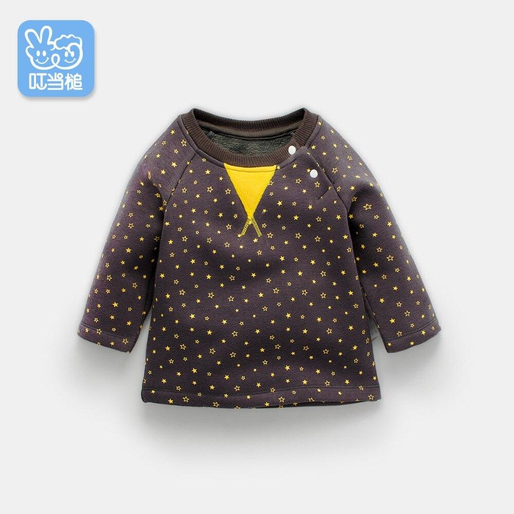 Baby boys sweatshirt 2018 autumn toddler boys childrens sweatshirt Star print plus velvet T-shirt