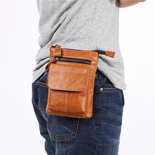 Nesitu Khaki Brown Coffee Black Soft Genuine Leather Mini Women Men Messenger Bags Phone Shoulder Bag Belt Bag Waist Bags M8123