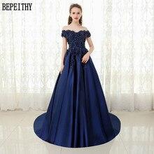BEPEITHY Custom Made Vestido De Festa V-neck Navy Blue Lace Beaded Vintage Prom Dress Off The Shoulder Long Evening Dress 2019