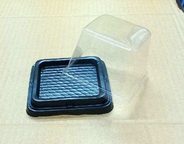 50 Uds 8,5*8,5*7,5 cm cuadrado Blister mousse Cake galleta paquete recipiente de Cupcake envases para muffins cajas