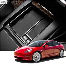Boîte de rangement ABS 1pc   Centrale Console, boîte de rangement porte-accoudoir conteneur accessoire de voiture pour Tesla modèle 3