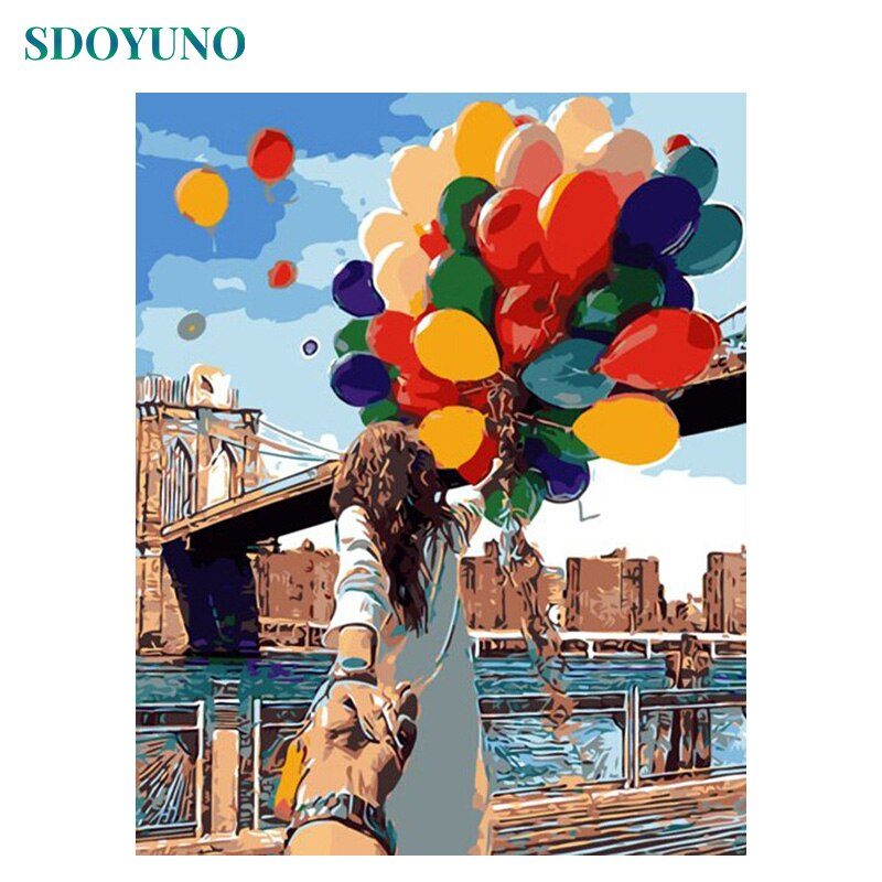 SDOYUNO, pintura por números, globos coloridos, pintura de regalo DIY por números para adultos, decoración de pared, pintura en lienzo para colorear por número