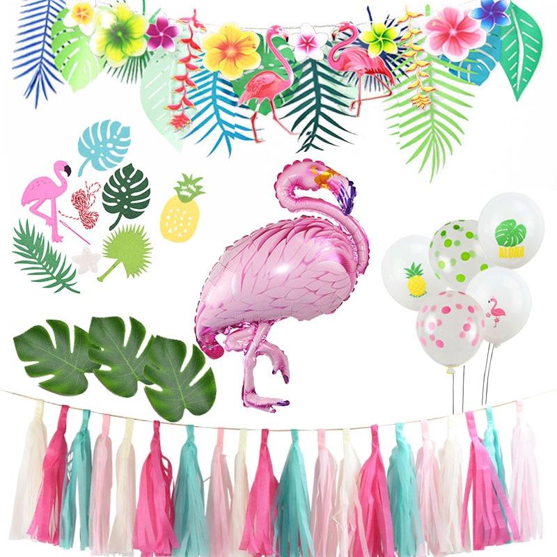 Verano Tropical Luau fiesta Aloha guirnalda de pancartas hawaiana playa tema decoración de fiesta de cumpleaños niños para fiesta de flamenco