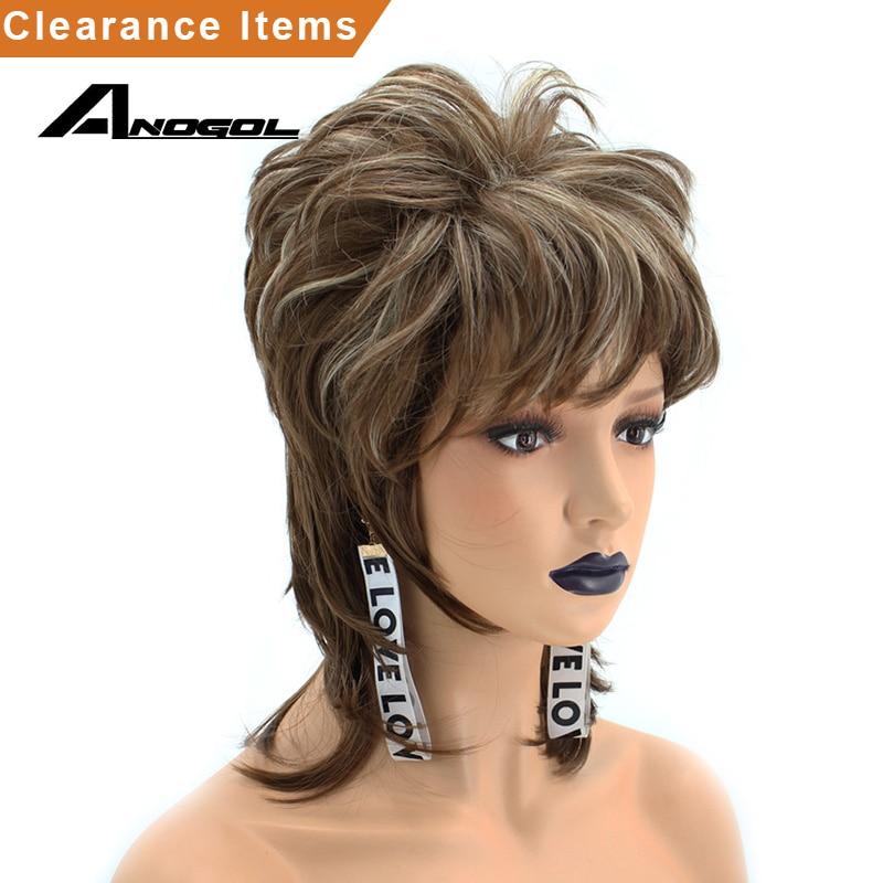 Anogol  Blonde Mixed Dark Brown Short Natural Wave hair Wigs Dark Synthetic Wig Foe Women Fringe