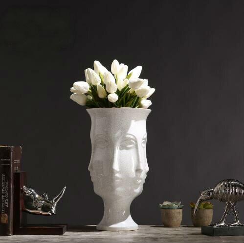 Blanco nórdico Cerámica Arte Creativo gente cara florero olla casa decoración artesanía habitación decoración objeto florero porcelana