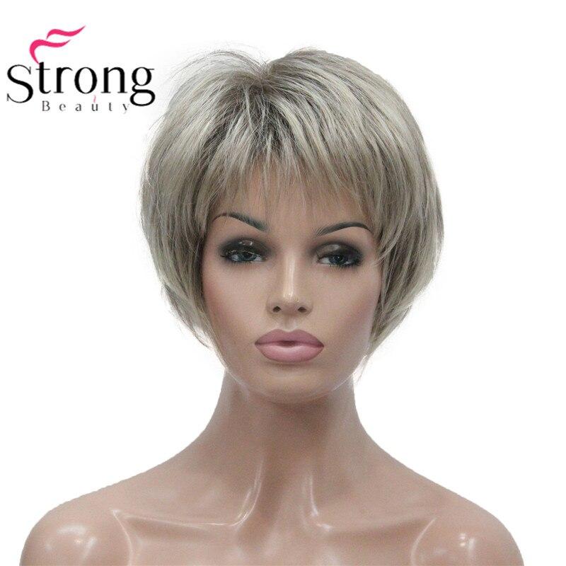 StrongBeauty corto suave capa Shag Ombre Rubio peluca sintética completa