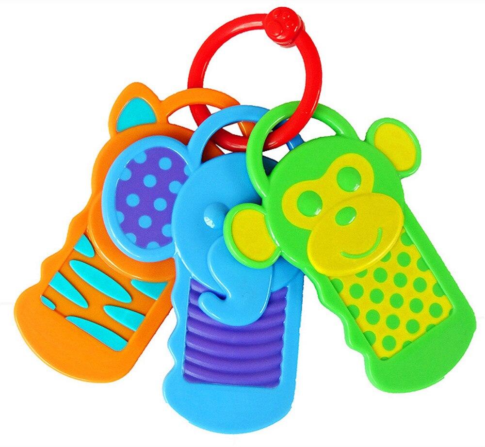 Bebé niños ABS tarjeta dientes pegamento fijo de dibujos animados de animales sonajeros mordedor juguetes para Recién Nacido 0-12Months desarrollo