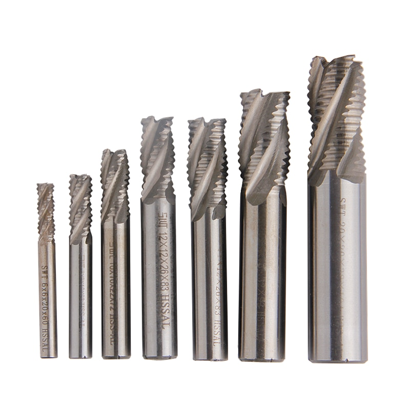 1pc 4-flauta roughing carboneto fresa hss end mill espiral roteador bit diâmetro 6mm-20mm haste reta ferramentas cnc