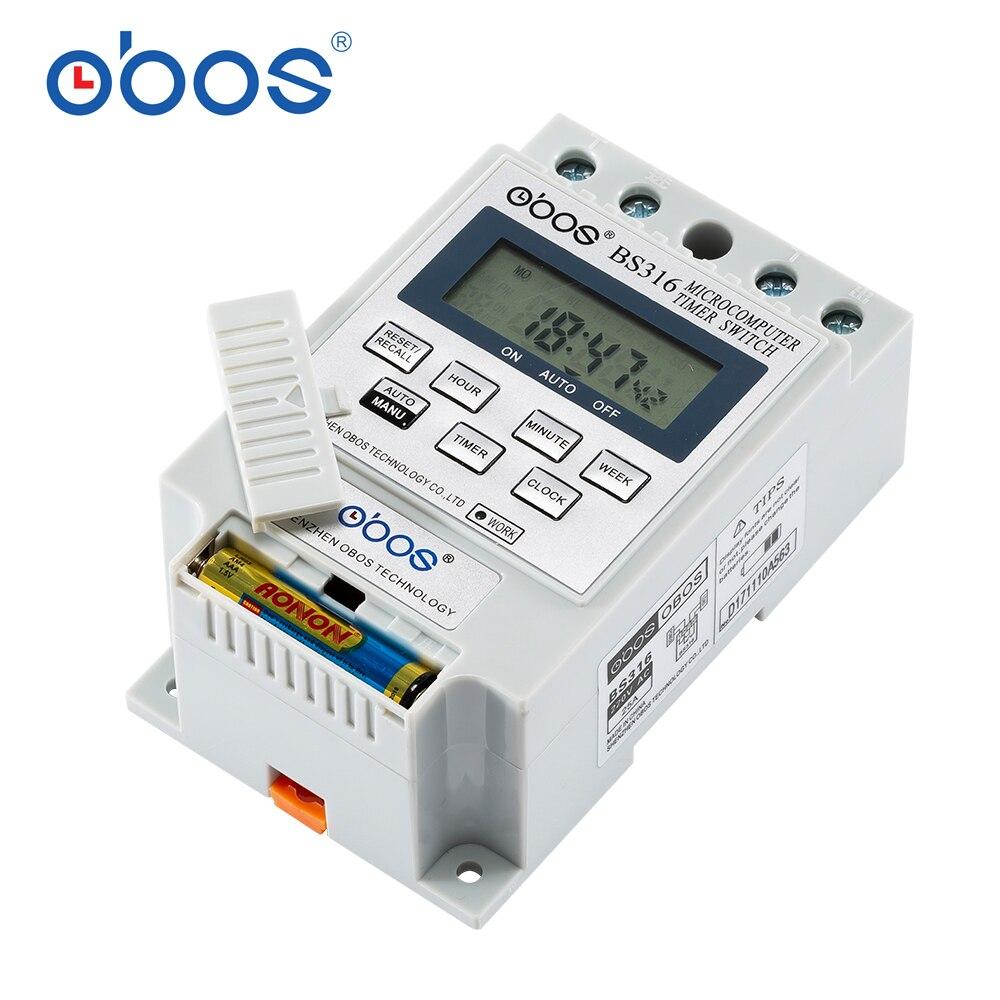 OBOS nuevo KG316 25A microordenador inteligente programable temporizador electrónico temporizador relé controlador AC220V DC12V