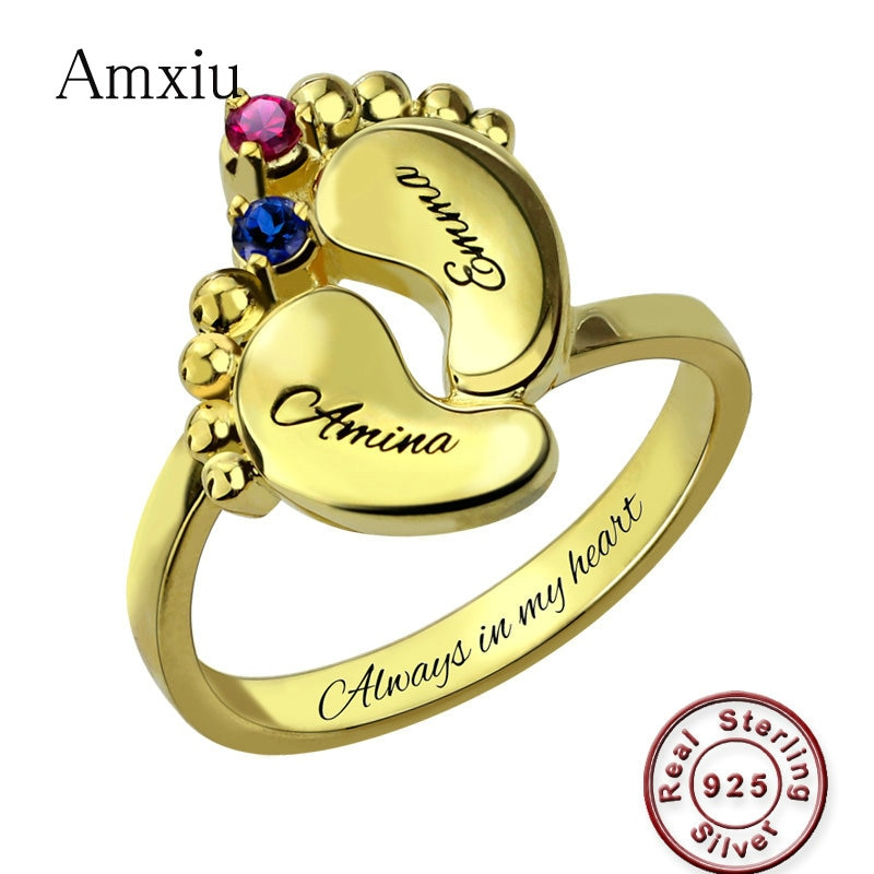 Amxiu 100% Plata de Ley 925 anillos de bebé para las mujeres regalos especiales de la madre personalizado dos nombres con anillos de piedras de nacimiento Accesorios
