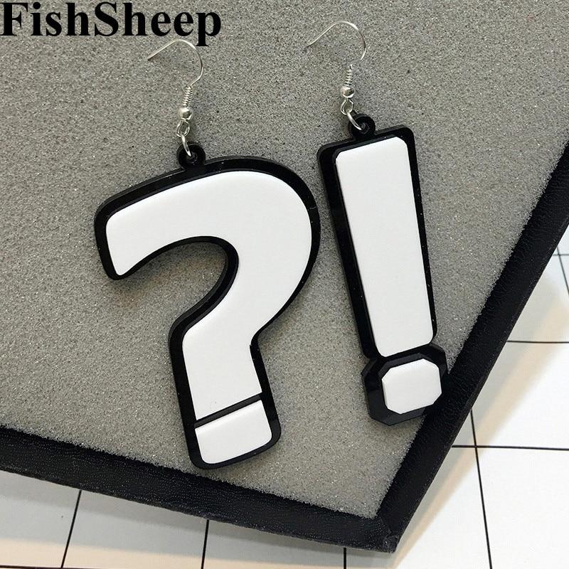 Fishsheep moda acrílico pergunta & exclamação marca grandes brincos para o clube noturno da senhora feminino balançar brincos jóias