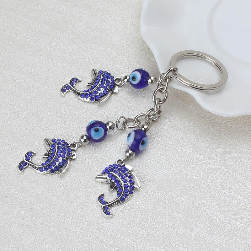 1pc Lucky  Blue Evil Eye Charms Keychain Crystal Dolphin Pendent Tassel Key Chain Alloy Car Key Chain Women Fashion Jewelry Gif