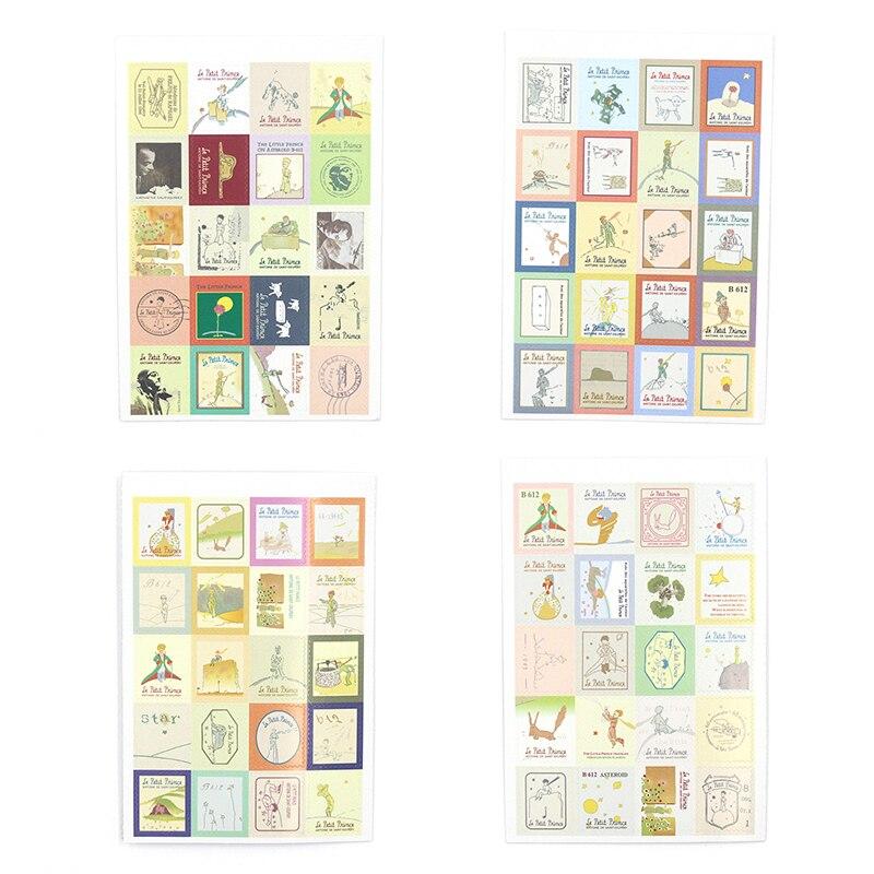 4 unidades/pacote retro pouco príncipe vintage folding selos adesivos de papel diy adesivos decorativos estilo europa papelaria adesivos