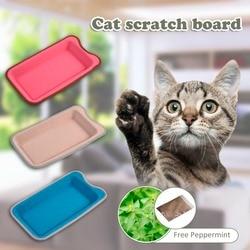 Retângulo gato scratch board com pepermint livre gatos brinquedo bandeja pet coçar placa para o gato treinamento liberação pressão scracth almofada