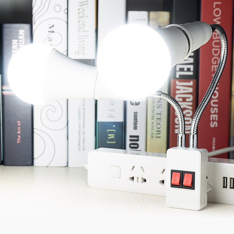 Doble cabeza Flexible Base de lámpara con bombilla LED AC85-265V interruptor de la UE nos enchufe titular de la lámpara AC220V E27 3W 5W 7W 8W 12W 15W 18W LED Bombilla