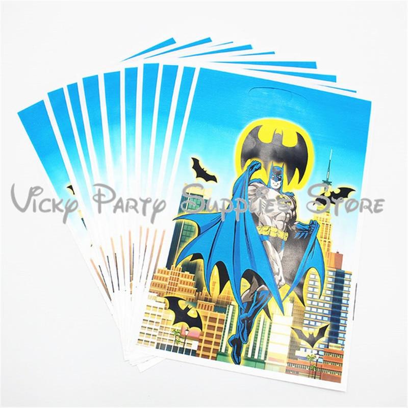 10 unids/lote bolsa de regalo desechable Batman Fiesta Temática bolsa de regalo de plástico bolsa de regalo de cumpleaños para Baby Shower bolsa de regalo de dibujos animados suministros de vajilla de fiesta
