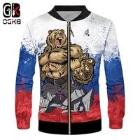ogkb brand russia bear men zip jacket 3d whole body printing war casual 2019 cool harajuku 6xl
