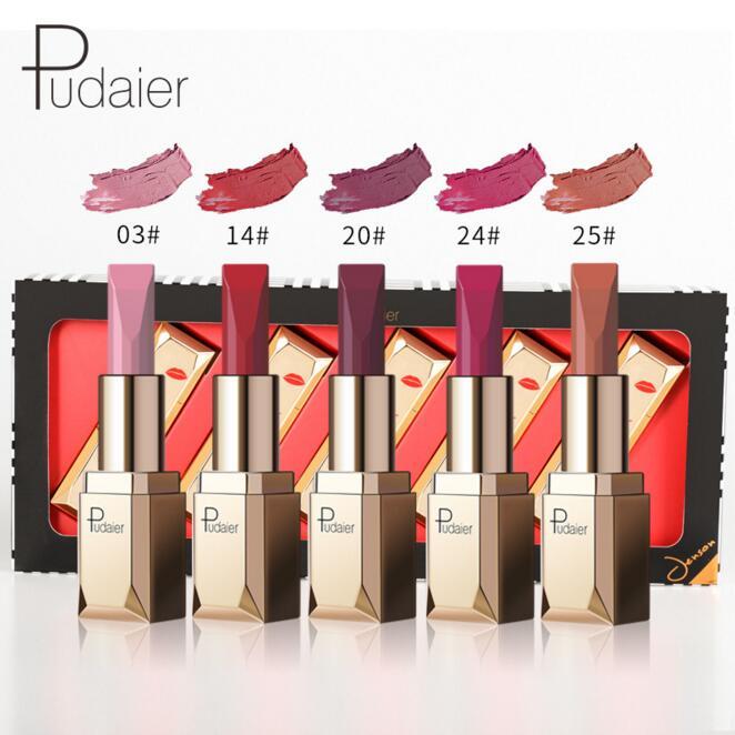 Pudaier lápiz labial mate cosmético impermeable de larga duración pigmento de terciopelo Sexy labio Nude mate lápiz labial labio Kits de Batom 5 unids/set