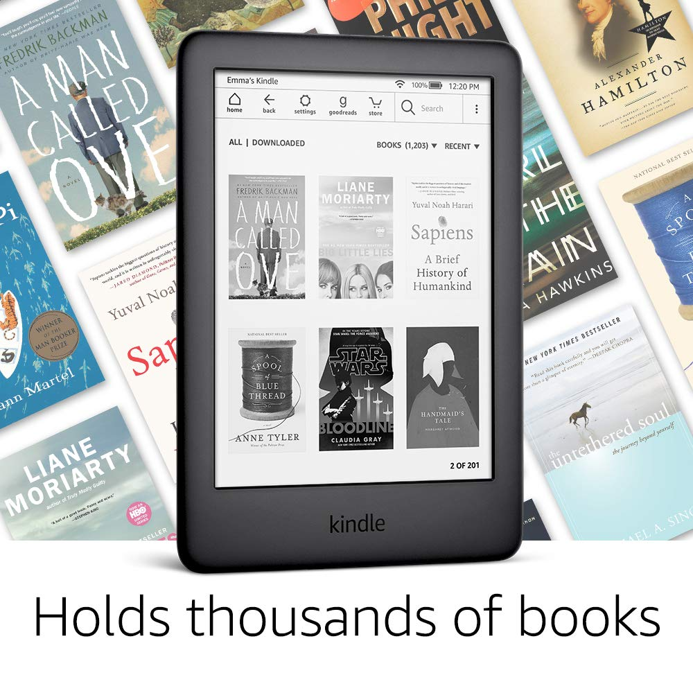 All-new Kindle Black 2019 version, Now with a Built-in Front Light, Wi-Fi 8GB eBook e-ink screen 6-i