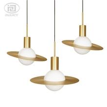 Personnalité Art soucoupe volante tout cuivre suspension lumières saturne en forme de pendentif LED lampe salle à manger chevet salon