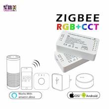 DC12-24V ZIGBEE Led de contrôle application intelligente rvb + CCT WW CW RGBW zigbee contrôleur de bande LED gradateur travail Amazon Alexa Echo
