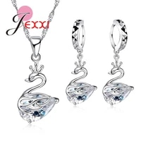 wedding jewelry sets 925 sterling silver cubic zircoina swan necklace cute animal drop earrings charms bride accessories