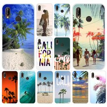 58A california trees Beach Surf Travel Soft Silicone Tpu Cover Case for huawei Nova 3 3i p smart