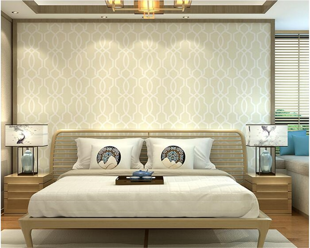 beibehang The new Chinese style bedroom modern minimalist wall paper woven plain lattice window geometry background 3d wallpaper