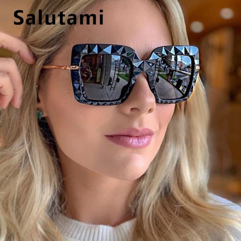 Unique Black Square 3D Sunglasses Women Luxury Brand Vintage Oversized Big Sun Glasses Men Uv400 Gog