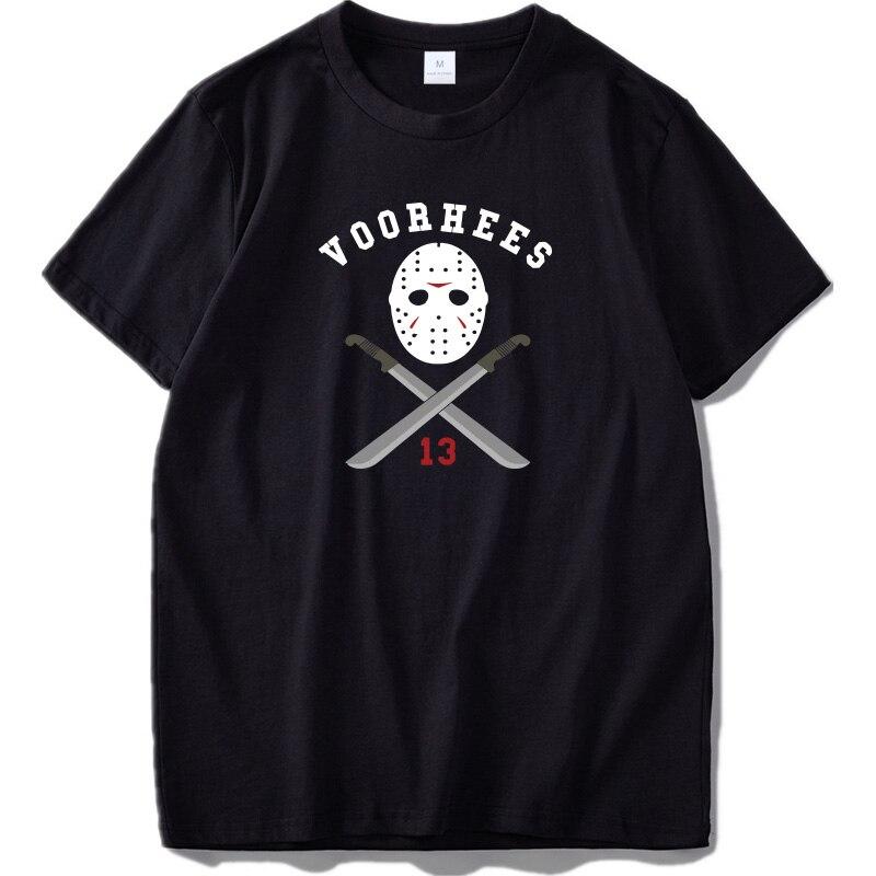 Tamaño de la UE 100% camiseta T Shirt de algodón el viernes 13th asesino Jason Voorhees camisetas de manga corta pantalón corto casual manga Homme