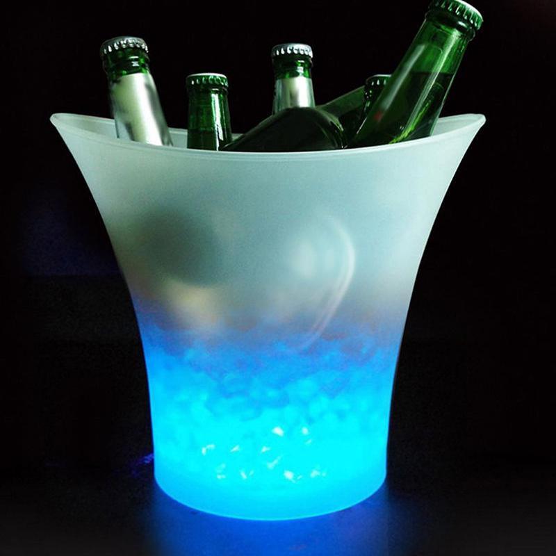 5л светящееся светодиодный ведро для льда 7 цветов шампанское вино напитки охладитель льда для пива для ресторанов баров ночных клубов KTV вечерние пабы
