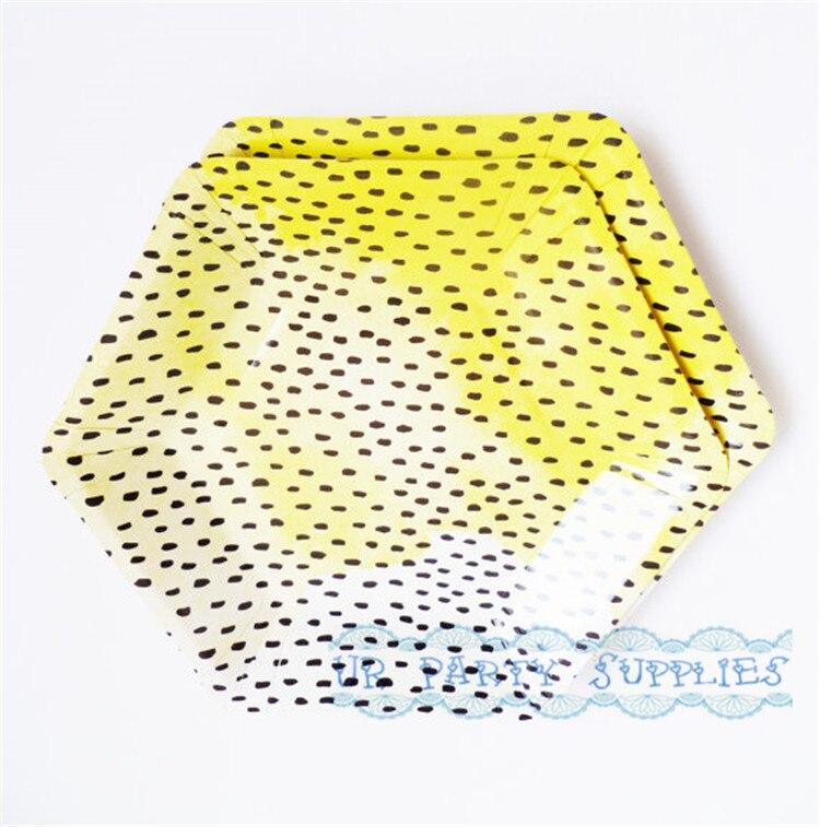 Free Ship 48pcs 18cm Hexagon Party Plate Spring Autumn Floral Orange Blue Purple Paper Plates for Dessert Tea Foil Bridal Shower