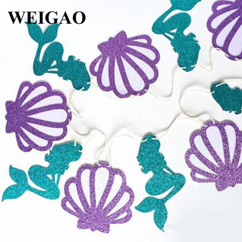 WEIGAO 1 комплект, блестящая Русалка, вечерние бумага для баннера гирлянды из флажков, для первого дня рождения, украшения для детей, товары для душа