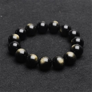 Wholesale 14mm Genuine Natural Gold Obsidian Round Beads Bracelets For Women Powerful Lucky Stretch Charm Men Bracelet