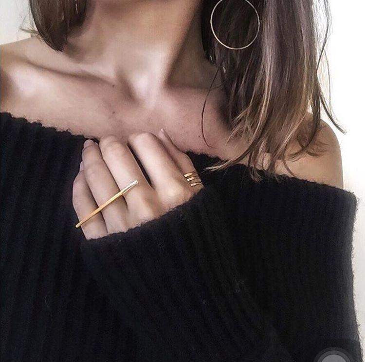 Nueva gran venta OL señoras moda simple una palabra larga banda forma anillo todo-fósforo anillo exagerado mujeres anillo