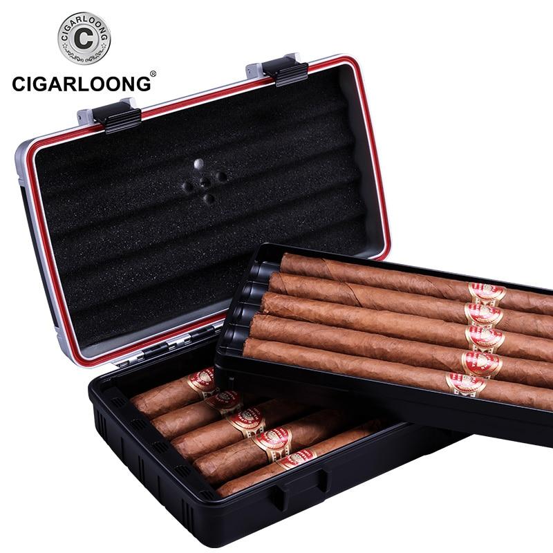 waterproof PC Cigar Box travel portable cigar humidor box cigar case holds 10 cigars CL-093 enlarge