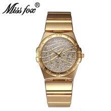 Miss Fox Brand Fashion Roman Numerals Gold Watches Women Famous Brand Diamond Watch Face For Women Clock Rhinestone Quartz Watch