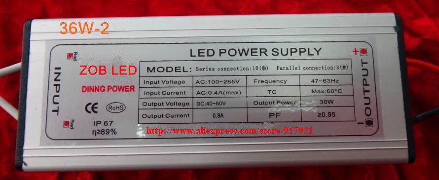 Controlador led de 36w DC120-140V, 0.3A, controlador led de alta potencia para luz de inundación/luz de calle, fuente de alimentación de unidad de corriente constante, IP65