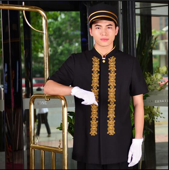 Uniformes de recepcionista, hotel, recepción, verano, portero, traje bordado