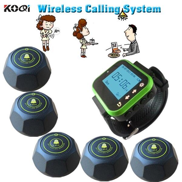 Llamada al camarero inalámbrica sistema de paginación reloj receptor con 5 botones campana color negro