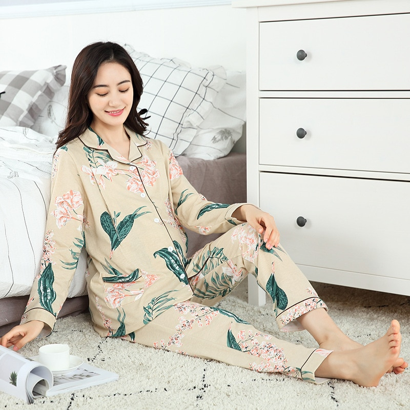 Printing flower long sleeve nightgown beige maternity and nursing set cotton casual breastfeeding pajamas for pregnant women