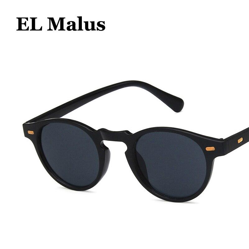 [El malus] retro pequeno oval moldura óculos de sol das mulheres dos homens verde escuro lente espelho do vintage leopardo tons marca designer óculos de sol