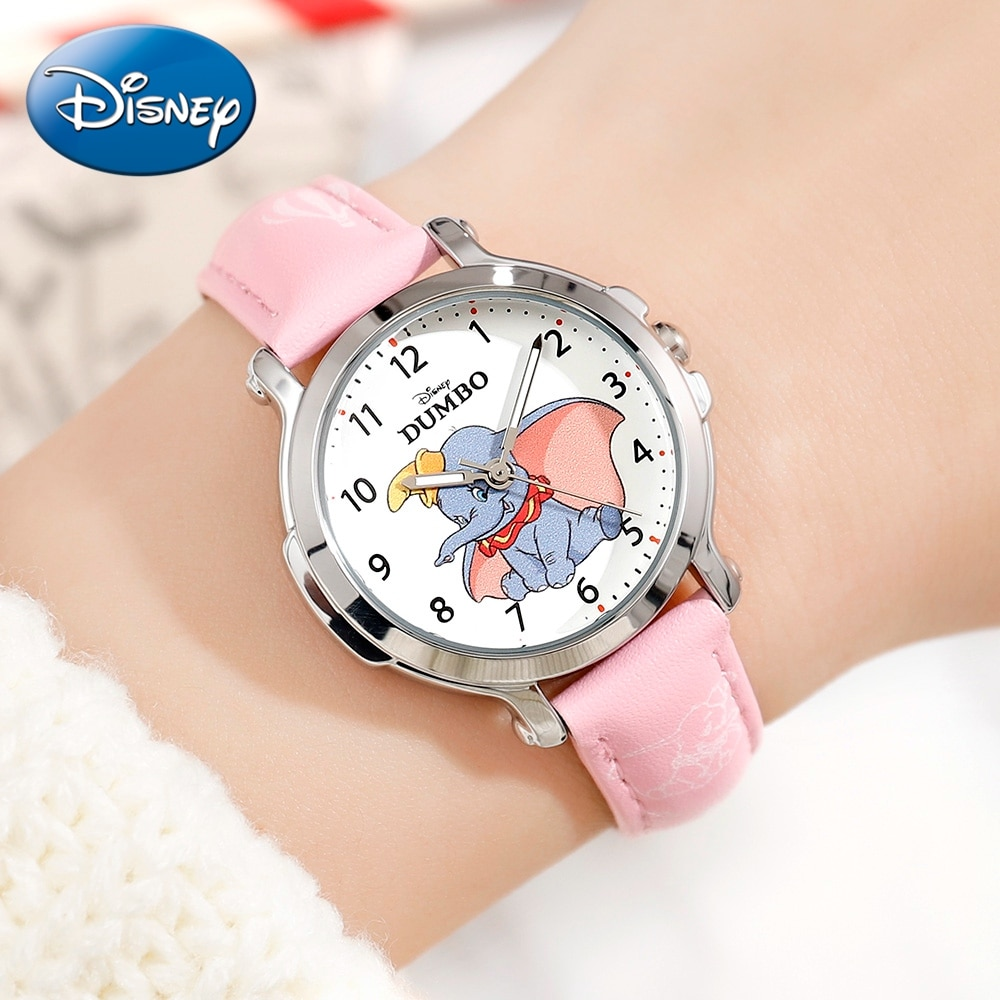 DUMBO Children Quartz Watch Girls PU Band Waterproof Fashion Casual Kids Disney Cartoon Watches Elementary Student Gift Clocks