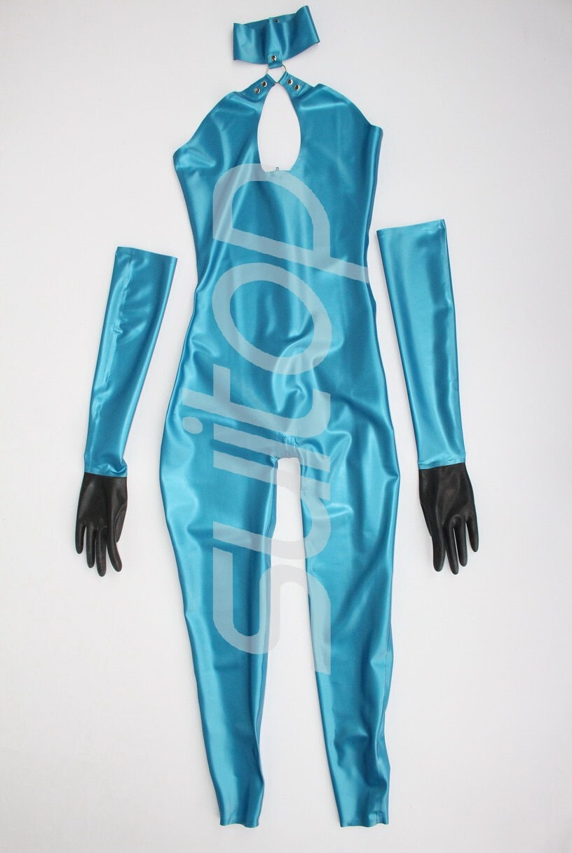 New arrived!!  Sexy latex catsuit+gloves