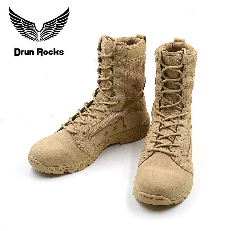 Drunrock-أحذية عسكرية تكتيكية عالية الجودة للرجال ، أحذية قتالية ، أحذية الكاحل ، أحذية عسكرية جلدية عبقرية قابلة للتنفس